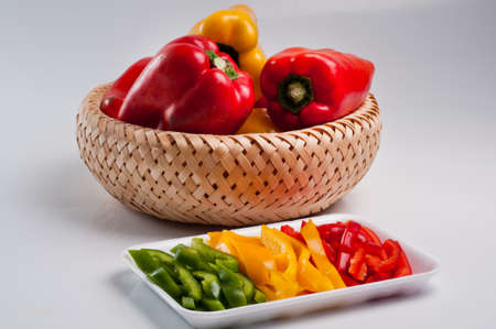 Green Pepper, Red and Yellow, whole and chopped