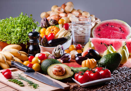Table of Fruits and Vegetables Foto de archivo