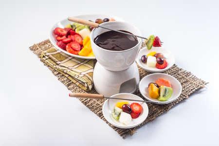 chocolate fondue and fruit