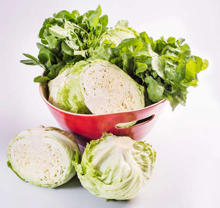 green cabbage: green cabbage and lettuce