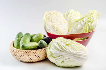 countrified: chard and cucumber in the basket Stock Photo