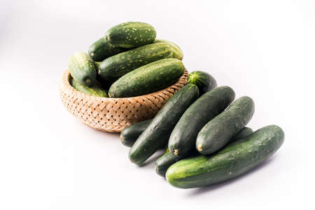 cucumbers: basket of cucumbers Stock Photo