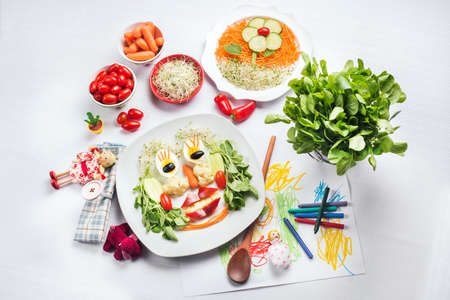 salad face for children, with toys