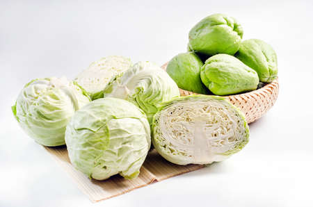 green cabbage: Green cabbage and chayote