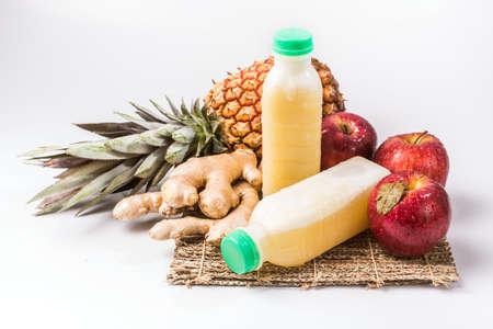 Pineapple, Apple and ginger juice Banco de Imagens