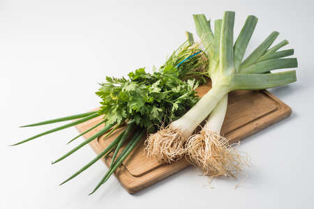 leeks: leeks, chives and parsley