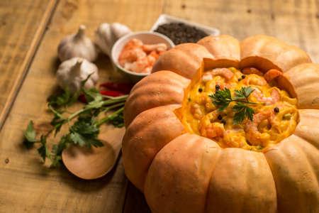 stuffed: Stuffed pumpkin with shrimps Stock Photo