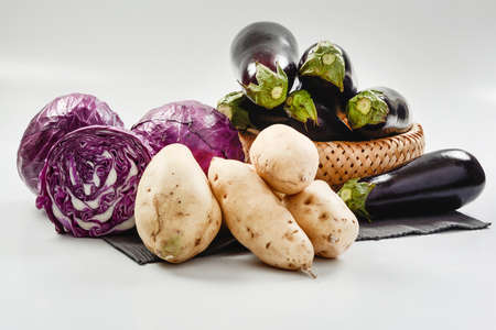red cabbage: Eggplant, red cabbage and sweet potato Stock Photo