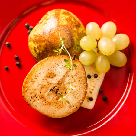 Pear with cheese and grape