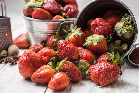 basket of strawberrie Banco de Imagens