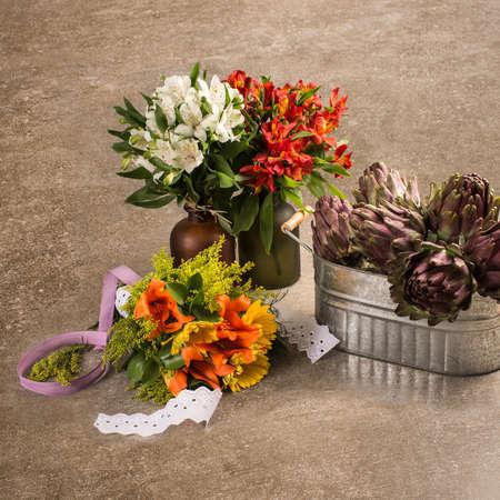 flowerpots: Flowers in ornamental flowerpots