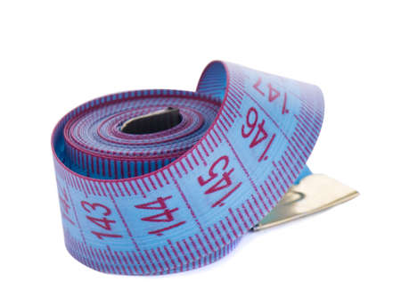 blue measuring tape curtailed into a roll