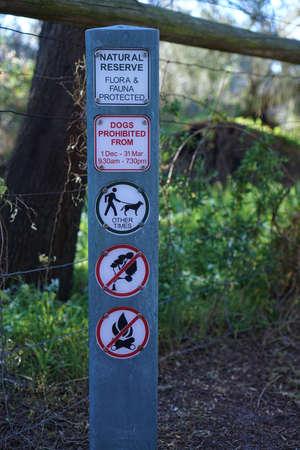 Seaford, VIC  Australia - Oct 5 2018: Natural Reserve Flora and Fauna protected sign Sajtókép