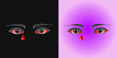 Red eyes with a bloody tear on a black background and in a purple circle Illusztráció