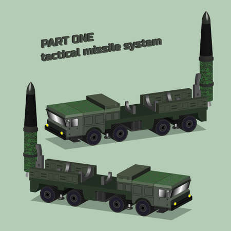 Isometry 3D self-propelled operational tactical missile system in green protective color with a raised rocket Part one