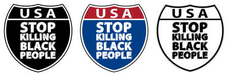 Traffic signs with inscriptions USA and Stop killing black people