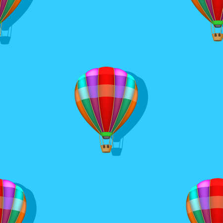 Seamless pattern with clipping mask. Multicolored balloon with a shadow on a background of blue sky EPS10