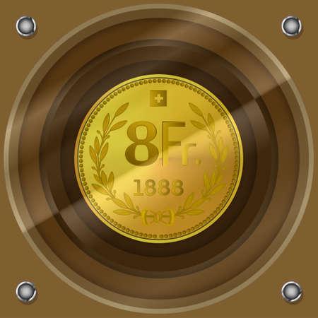 Fictitious 8 swiss francs gold retro coin under glass EPS10 Ilustração