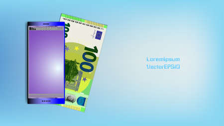 Poster with smartphone and paper money. Banknote of the European Union with a par value of 100 euros. Shadows and the inscription Lorem Ipsum Vector EPS 10