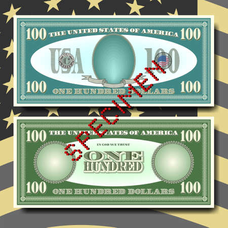 A fictional pattern of US paper money obverse and reverse with shadows, face value of 100 dollars. Red perforated lettering, specimen EPS 10