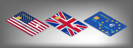 Set of 3d bank cards with flags of the USA, Great Britain and the European Union. Dollar, pound and euro currency signs. EPS10 Ilustração
