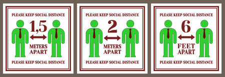 Set of posters or stickers. Please keep social distance. Two stylized green men with ties. 1.5 and 2 meters. 6 feet