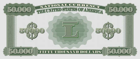 Fictional US paper money with a face value of 50000 dollars. Reverse of green banknote Part three  イラスト・ベクター素材
