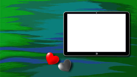 A tablet with a white screen on an abstract green background. Red and black hearts with shadows. EPS10