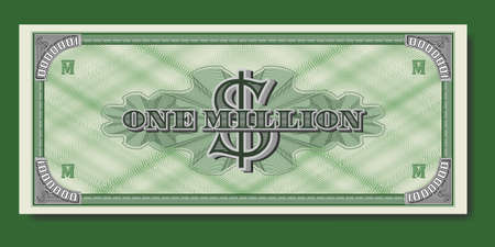 Fictional paper money USA. Banknote of one million dollars. Reverse with guilloche patterns. Part two