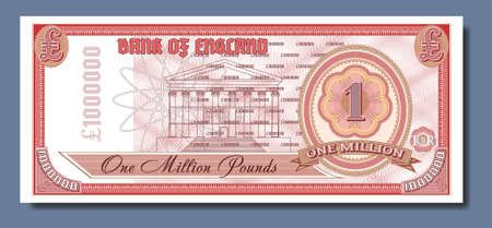 Fictional paper money of Great Britain. Banknote of one million pounds. Obverse with guilloche patterns Part one