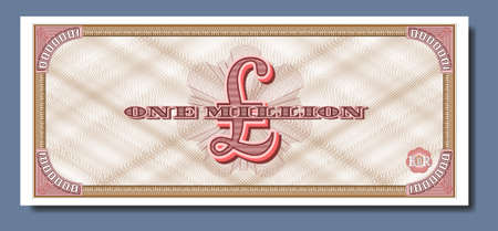 Fictional paper money of Great Britain. Banknote of one million pounds. Reverse with guilloche patterns Part two