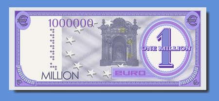 Fictional paper money of European Union. Banknote of one million euro. Purple obverse with guilloche patterns Part one Ilustração
