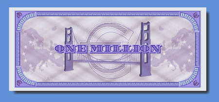 Fictional paper money of European Union. Banknote of one million euro. Purple reverse with guilloche patterns Part two
