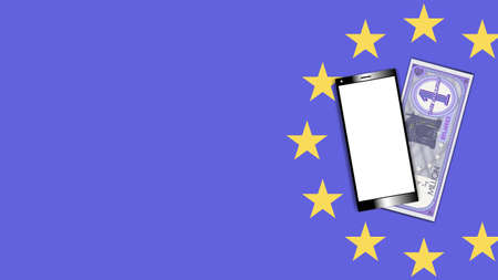 Poster smartphone with a white screen and a paper money certificate. EU 1000000 euro banknote with shadows EPS 10