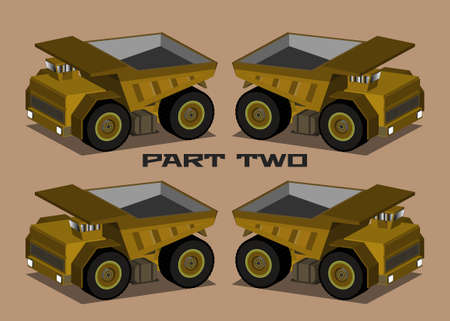 Isometric 3D yellow mining truck with a narrow cab and an empty body in four projections Part two