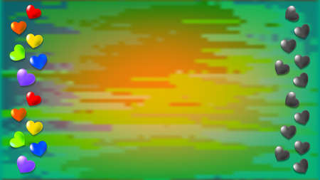 Abstract turbid background with rainbow and dark hearts at the edges EPS 10