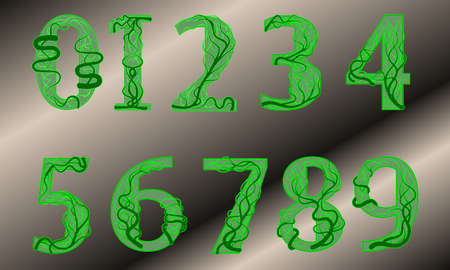 Arabic numerals from zero to nine decimal in the style of a green plant