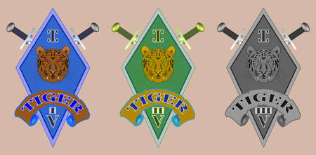 Icon  emblem rhombus, tiger head and swords with signs Illustration