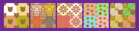 Set of seamless patterns without mask. Tiger head on a colorful background