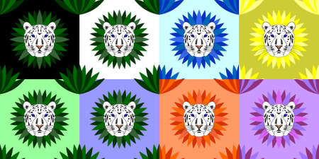 Seamless pattern without mask. The head of a white tiger with blue eyes on a colorful background of plants Illustration
