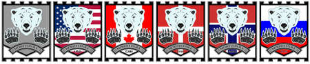 Shield coat of arms of the North Pole. Flags of the USA, Canada, Denmark, Norway and Russia. The head and paws of a polar bear Ilustrace