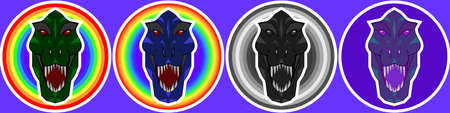 Emblems, stickers or logos. Dinosaur head on a background of colored circles