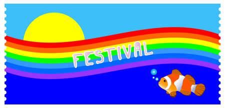 Flyer with rainbow, sun, clown fish and the inscription FESTIVAL Foto de archivo - 151800453