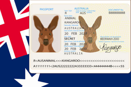 Comic Australian Kangaroo Passport EPS10