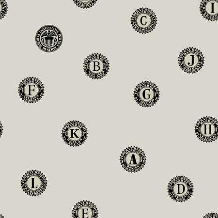 Seamless pattern without mask. Prints of US federal banks printing paper money Vektoros illusztráció