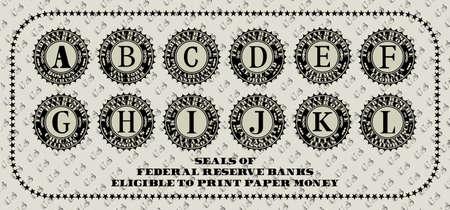 Seals of the Federal Reserve Banks eligible to print paper money Vektoros illusztráció