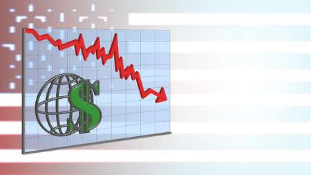 3D Banner Graph with red arrow dollar sign on turbid USA flag
