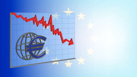 3D Banner Graph with red arrow euro sign on turbid EU flag EPS10