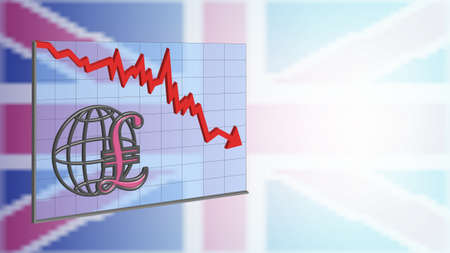 3D Banner Graph with red arrow pound sign on turbid Great Britain flag EPS10