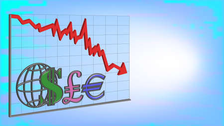 3D Banner Graph with red arrow dollar pound and euro signs on turbid background EPS10